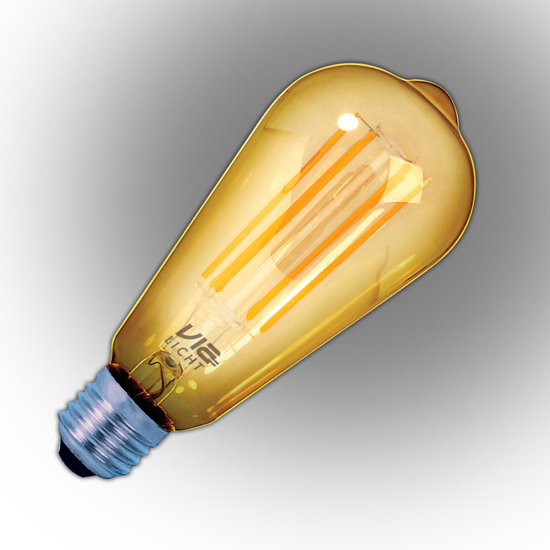 Vialicht-2W(20W)Led-Filament-Rustik-ST64-Deco-E27- 170lmn-270°-1800K-GOLD